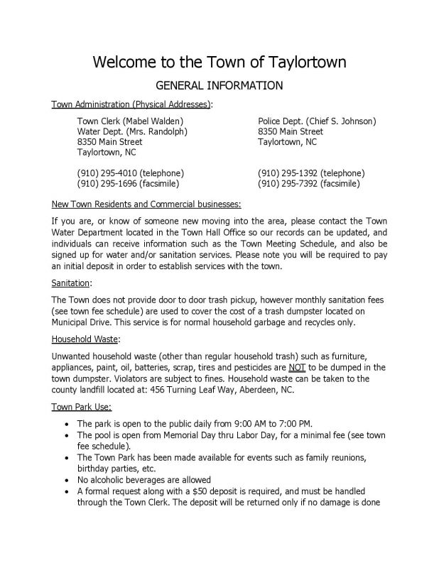 General Information for Taylortown Residents - Page 1